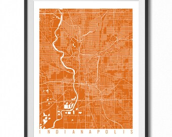 INDIANAPOLIS Map Art Print / Indiana Poster / Indianapolis Wall Art Decor / Choose Size and Color