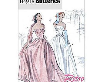 OOP Retro 1952 Wedding, Bridemaids or Formal Dress, Butterick B4918 Sewing Pattern, Sizes: 6 -8 -10 -12 UNCUT
