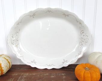 Large Antique Johnson Brothers White Ironstone Platter, Rustic Farmhouse Serving Dish