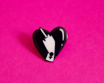 Lovely Middle Finger Brooch / Pin in Black