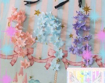 Pastel Flower Dangle Hair Clip - Choose Color
