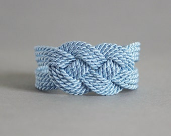 Light Blue Knot Bracelet, Knot bracelet, Blue Rope Bracelet, Nautical Bracelet, Nautical Jewelry, Rope Knot Bracelet,Infinity Knot Bracelet