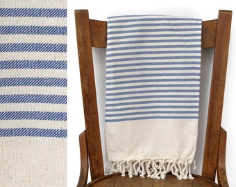 Turkish Beach Towel Handwoven Natural Cotton Turkish Bath Towel Wrap Spa Travel Towel Turkish Towels Blanket Cream Blue DISCOVERY PESHTEMAL