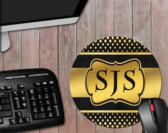 Black and Gold Monogram 8 Inch Round Novelty Computer Mousepad - Novelty Mouse Pad - Free Shipping