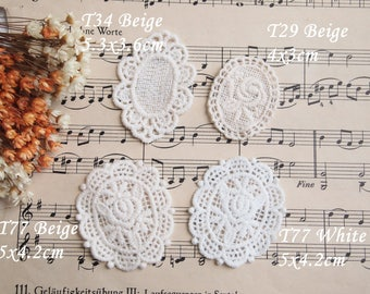 Applied guipure lace, pink retro, shabby, beige, white