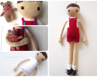 Arnold and Timo: A Crochet doll (and his bear) PDF Pattern