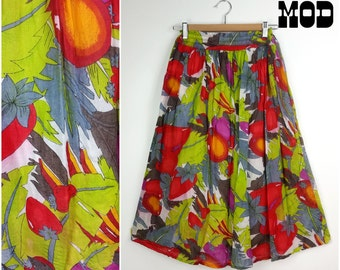Sassy Vintage 70s Abstract Fruit Print Midi Cotton Skirt! Strawberries!