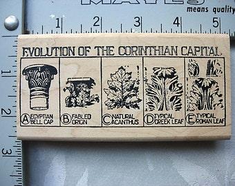 RARE Tin Can Mail Evolution of the Corinthian Capital Column Pillar Decor Types DESTASH Rubber Stamp, Used Rubberstamp