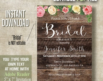 Bridal Shower Invitation, Flowers and Wood invite, Instant download printable self editable PDF file A450
