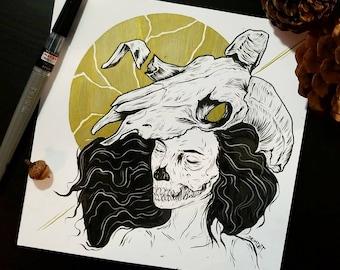 Ram Skull Girl Print