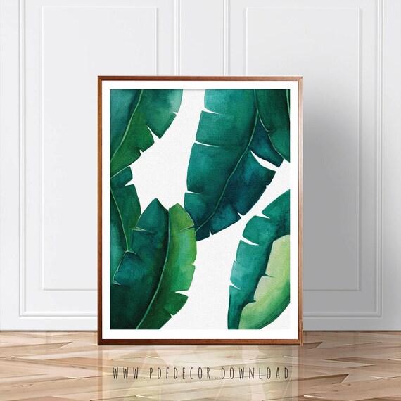 Banana Leaf print, Tropical Print, Palm Leaf, Watercolor Art, Wall Art, Banana Leaf, Green Leaves, Plant Print, Palm Print, Tropical Decor