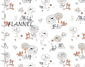 Woodland Animal Flannel Fabric, 3 Wishes Playful Cuties 12962 White, Fox, Raccoon, Bunny, Owl, Squirrel, Woodland Baby Flannel, Cotton