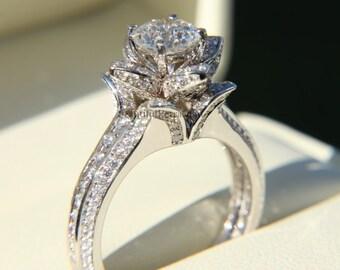 Gorgeous UNIQUE Flower Rose Diamond Engagement Ring - 1.66 carat - 14K white gold - art deco - fL01