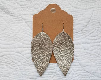 Genuine Leather Leaf Earrings in Metallic Champagne