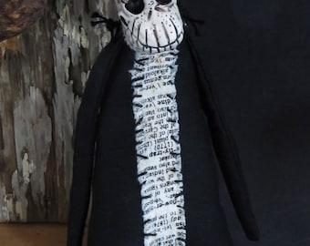 Klopp Kids  One of a Kind Folk Art Doll Skeleton Human Skull Strange Figure Weird Gothic Nightmare Monster