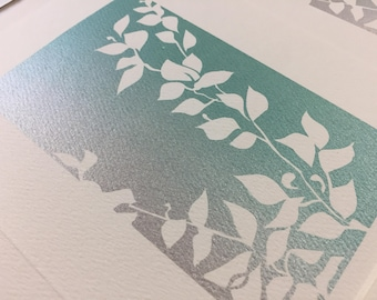 Hand printed silkscreen plant green and silver blank notecard -made with love
