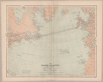 Vintage map of the North Atlantic showing telegraphic communication, published circa 1862, Virtue Imperial Gazetteer #00075