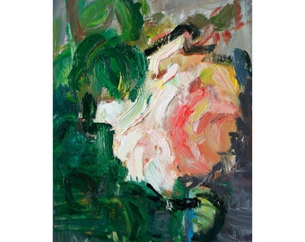Giclee Fine Art Print Impressionistic Light Pink Rose Floral Flower Roses Beautiful Flowers Original Impasto Oil Abstract Painting Paintings