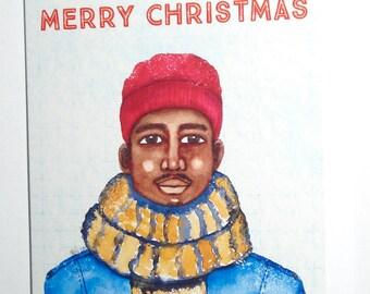 African American Christmas Card - Black Christmas Card - Male