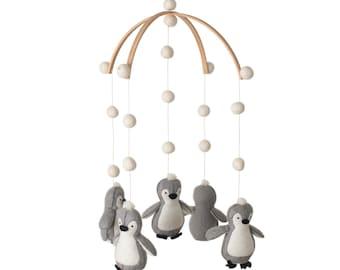 nursery decor - baby mobile - penguin mobile - penguin - felt balls _ MADE TO ORDER -Scandinavian