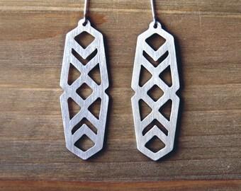 Geometric boho earrings / long dangle earrings / tribal statement earrings/ gift for her / surgical stainless steel earrings jewelry