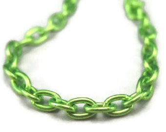 Lime Green Chain 21 Gauge Link Size 4mm by 3mm, Nickle and Lead Free Metal 3 Feet Lengths
