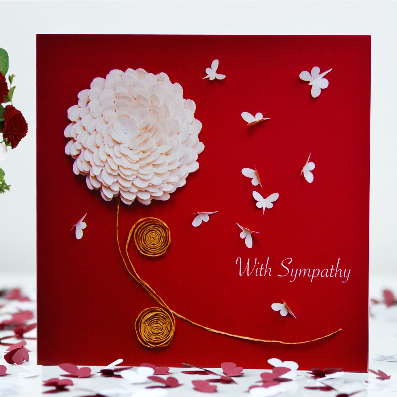 With Sympathy Chrysanthemum Butterfly Card Flower With