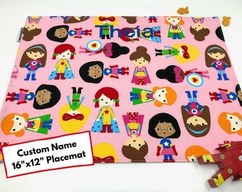 Personalized Gift (Supergirl Placemat, Name Place Mat, Pink Placemat, Back To School, Montessori Lunch, Superhero Placemat, Birthday Party)
