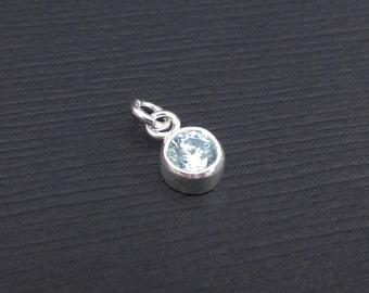 Add a Birthstone Charm Dangle - March Birthstone Charm Sterling Silver, Aquamarine Charm CZ Dangle, Birthstone Charms, Bezel Charms