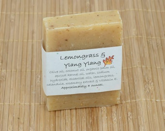 Lemongrass & Ylang Ylang Soap Scented with Essential Oil, 4 Ounces