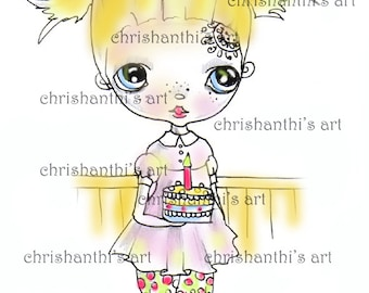 INSTANT DOWNLOAD Digital Digi Stamps..by Chrishanthi's art,Happy Birthday.