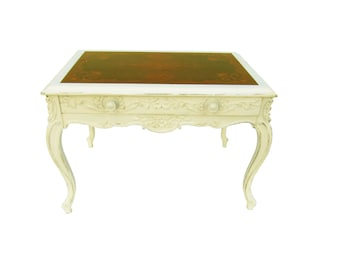 French French Carved Marquetry Table Shabby French Carved Accent Table Paris Apartment Painted Distressed Table Cottage White Table