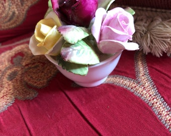 English Country Porcelain Roses Floral Coalport Vase