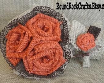 Burlap & Lace bouquet with matching boutonniere set