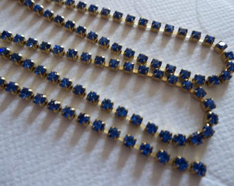 2mm Sapphire Blue Rhinestone Chain - Brass Setting - Preciosa Czech Crystals