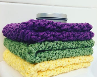 Cotton Washcloth • Cotton Dishcloth • Multiple Color Options • Set of 2 • 100% Cotton •