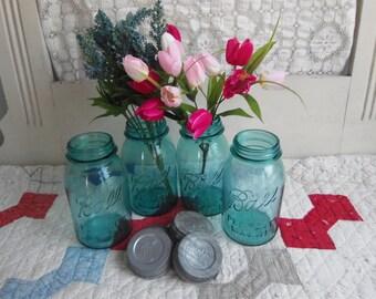 4 Vintage Aqua Blue Quart Sized Ball Perfect Mason Jars NO LIDS