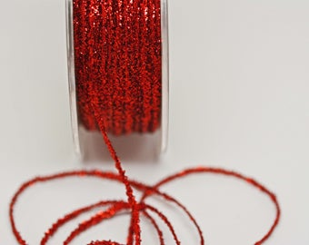 Red Tinsel String -- Thin -- Red Sparkle 10 yards