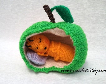 Sleeping apple worm - amigurumi PDF crochet pattern