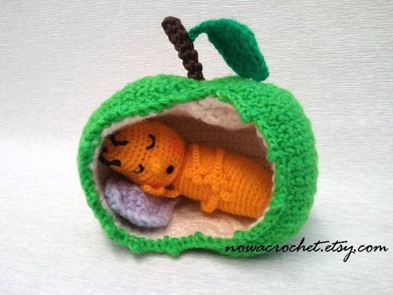 Gusano de la manzana amigurumi PDF crochet patrón el dormir