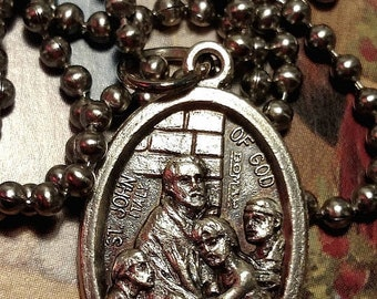 SALE TODAY Saint St John of God Long Religious Medal Pendant Charm Necklace on Steel Chain