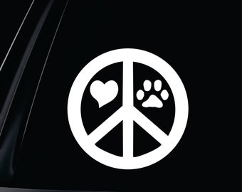 Peace Sign Love Paw Round Vinyl Decal