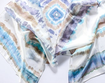 Silk shawl turquoise, shibori shawl turquoise, hand painted scarf, personalized gift for woman - Painted silk accessory ooak ready to ship