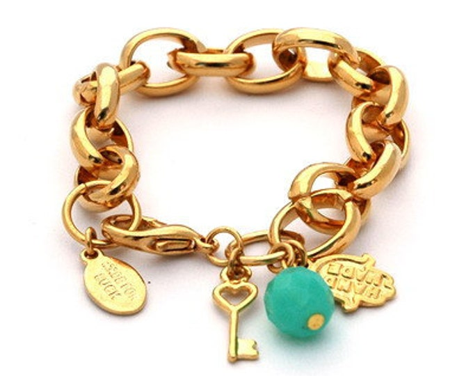 Hamsa Gold Link Bracelet for Good Luck