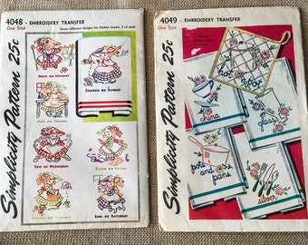 Simplicity Embroidery 4048 4049 Transfer Sewing Patterns Vintage 1940s UNCUT