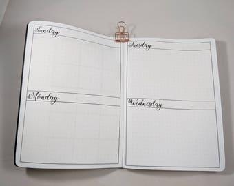 Perpetual Undated 3 Month B6 sized TN Insert Traveler's Notebook Insert Basic Paper
