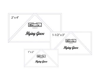 """Flying Geese Ruler Set 6 includes: 1 x 2"""", 1-1/2"""" x 3"""", and 2"""" x 4"""""""