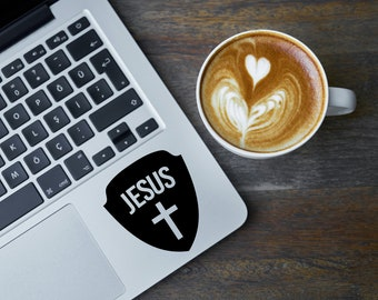 Shield and Jesus Vinyl Decal - Christian Laptop Decal Sticker - Jesus and Cross with Shield Vinyl Sticker - Christian Laptop Stickers - N10