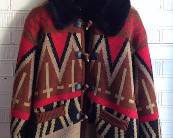 Vintage Coat Aztec Knit Black Fur