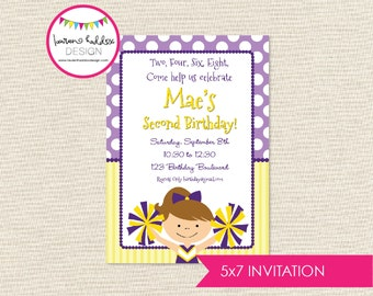 Cheerleader Birthday Invitation, Cheerleader Birthday, Cheerleader Printables, Cheerleader Birthday Decorations, Lauren Haddox Designs